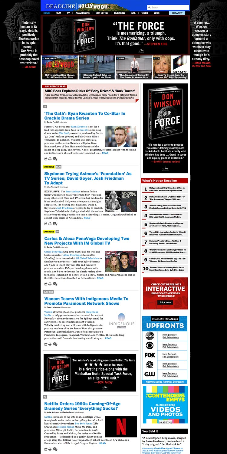 Don Winslow - The Force - Hollywood Deadline - Homepage Takeover