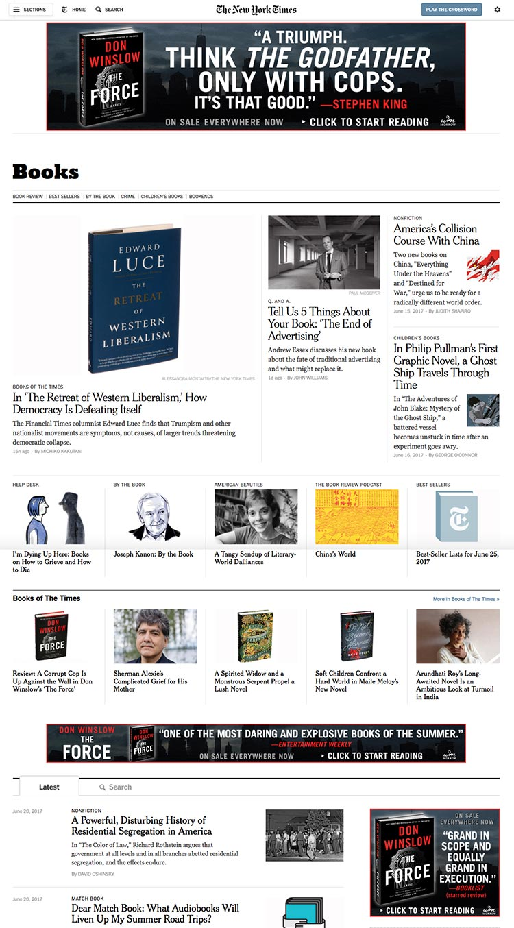 Don Winslow - The Force - New York Times - Books Section Takeover