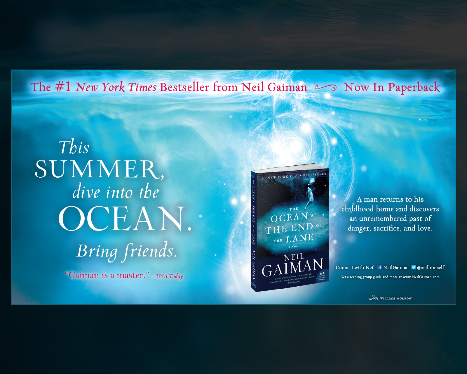 Neil Gaiman - The Ocean at the End of the Lane - New York Times Book Review Full Page Center Spread Ad