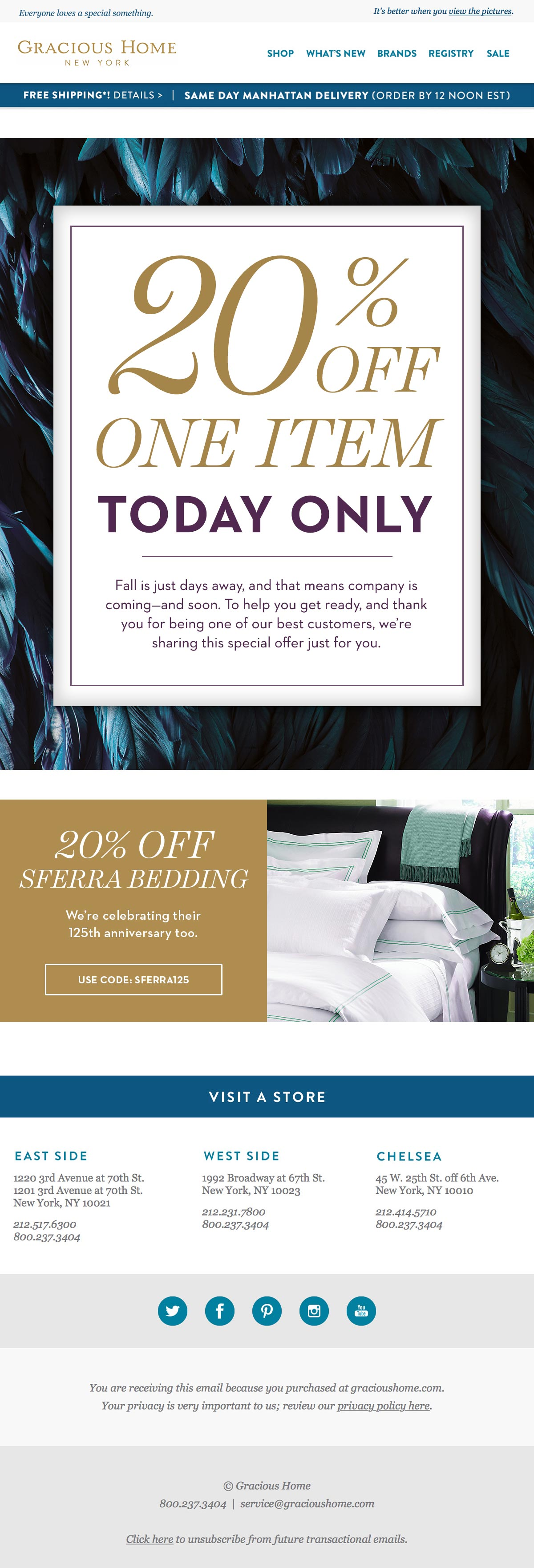 Gracious Home - 20% off Secret Sale email