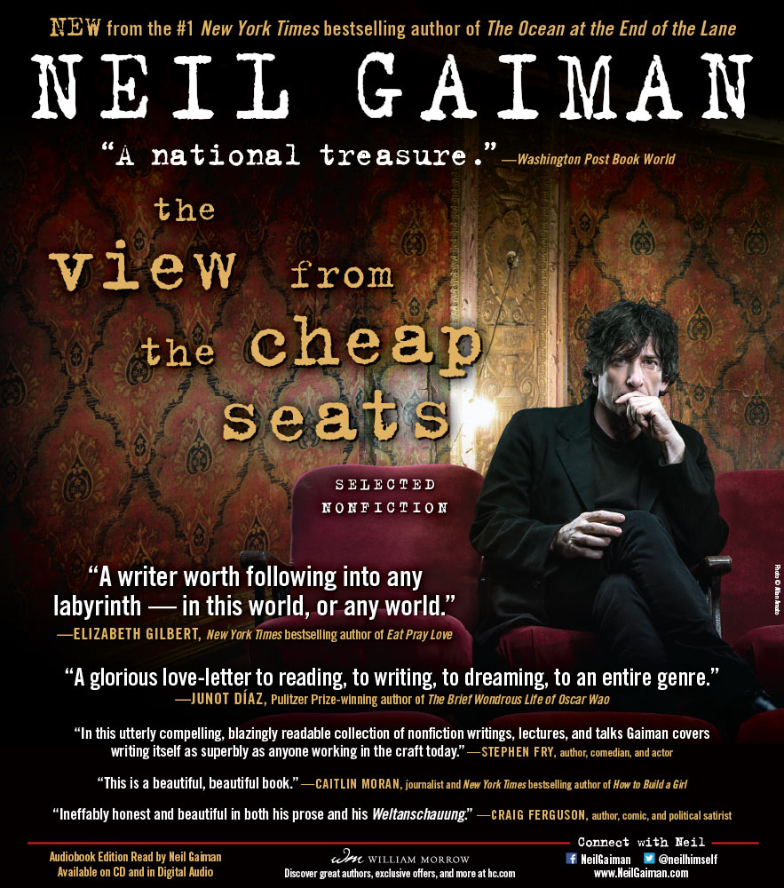Neil Gaiman - The View From the Cheap Seats - New York Times Book Review Full Page Ad