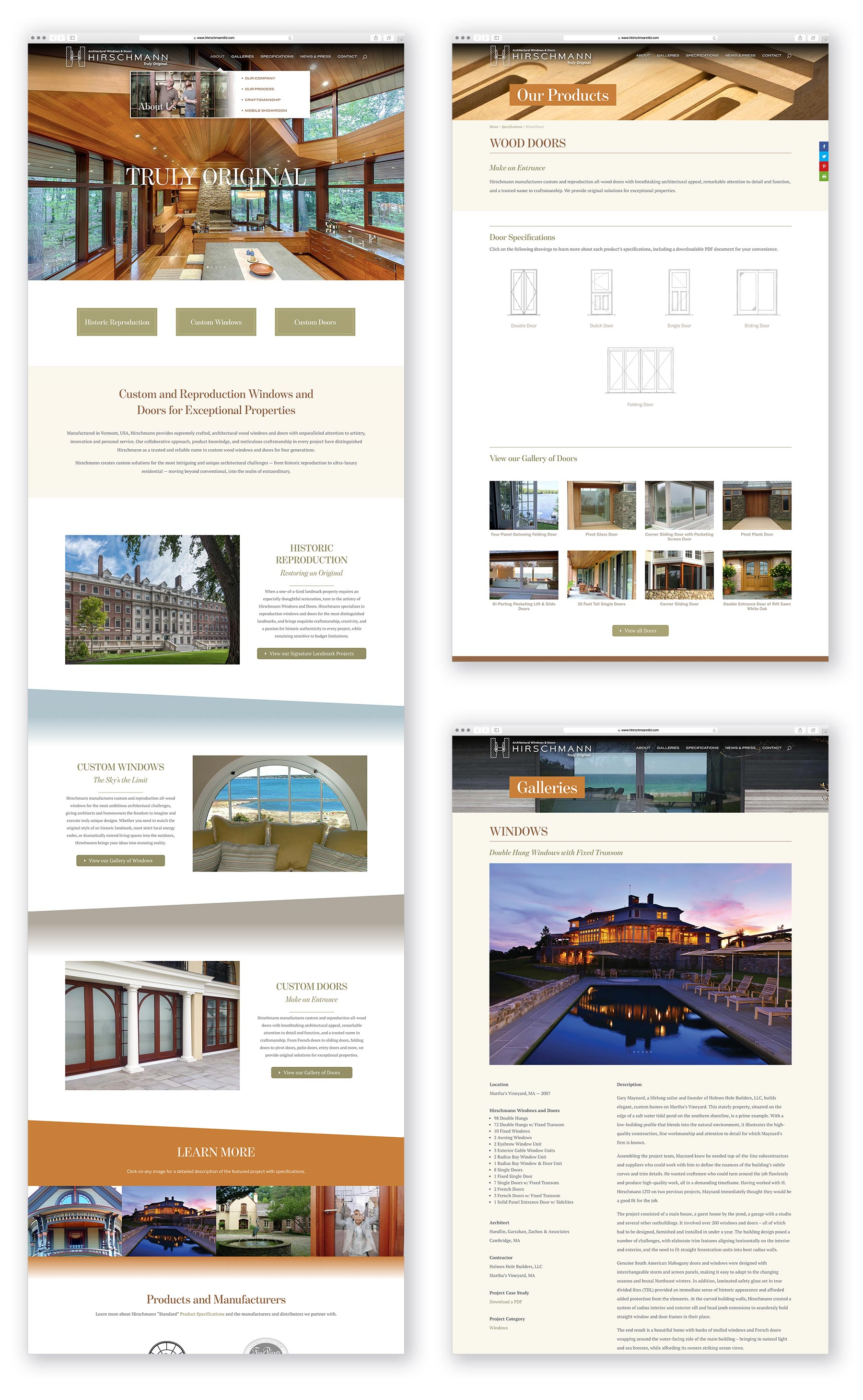 H. Hirschmann LTD - homepage and subpage layout